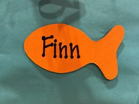 Goldfish Party Treat Bags - child's name written on one of the fish