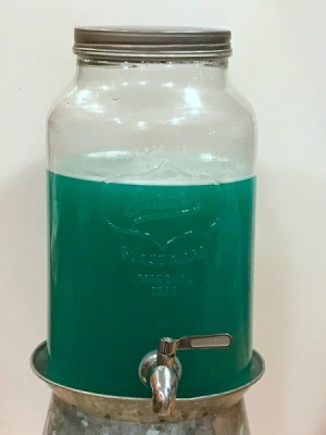 Blue Party Punch - glass dispenser with blue punch