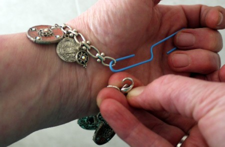 Fastening a Bracelet - using a paperclip to hold jump ring to fasten