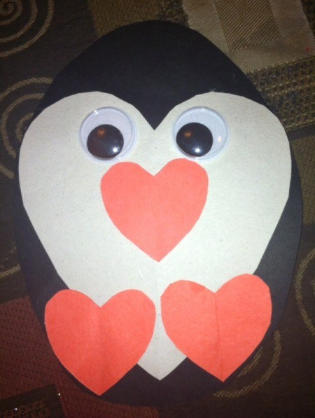 Heart Shaped Paper Penguin - closeup of finished penguin