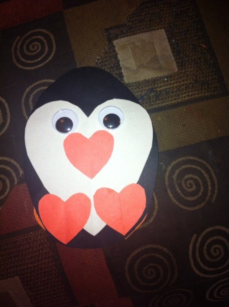 Heart Shaped Paper Penguin - with all pieces glued together