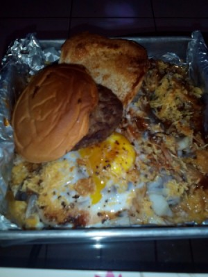 Thrifty Leftover Pork Meal on baking sheet
