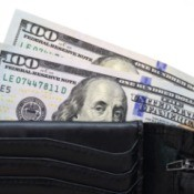 A wallet full of cash.