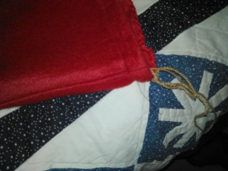 Make Gift Bags from Seasonal Throws - closeup of the drawstring for bag