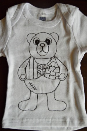 Baby Bear Adult Coloring Tee Shirt -  shirt with pattern copied on