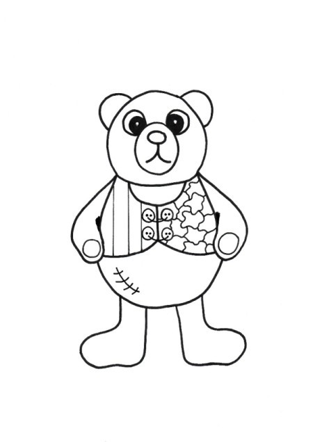 Baby Bear Adult Coloring Tee Shirt - coloring pattern