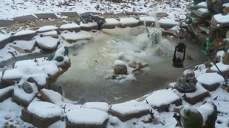 A frozen rock garden pond with a ceramic frog.