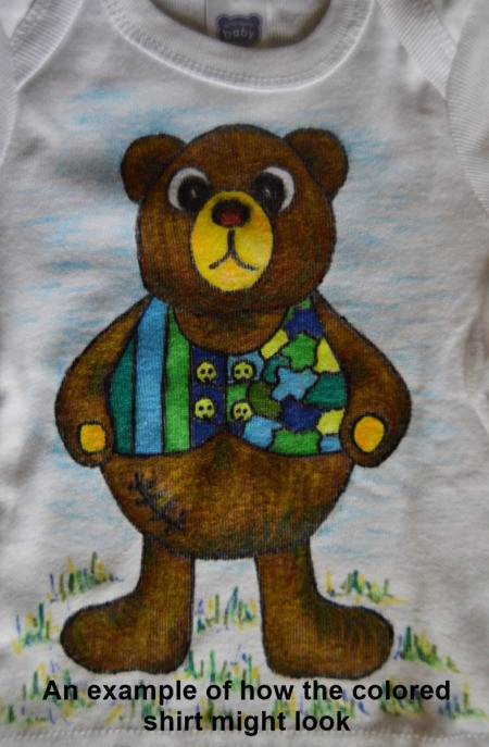 Baby Bear Adult Coloring Tee Shirt - example of colored tee