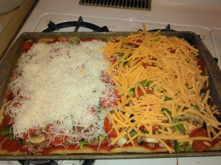Homemade Pizza 2 kinds on one cookie sheet