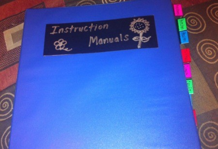 Organizing Home Instruction  Manuals - finished labeled binder with tabs