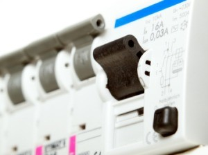 Close up of a GFCI Circuit Breaker.