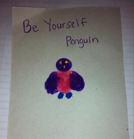 Fingerprint Penguin - optional project allowing children to choose their own paint colors