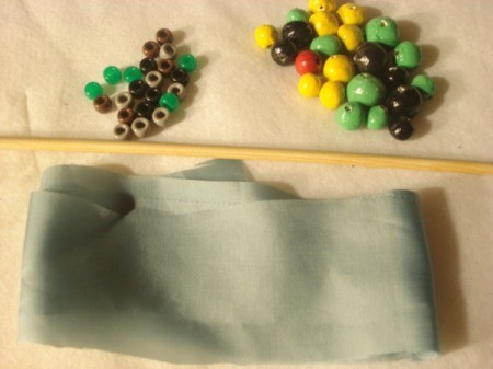 Bead and Fabric Necklace - supplies