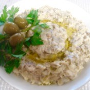 Baba Ganoush in bowl with garnish.