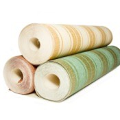 Rolls of wallpaper.