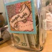 Adventure Funds Jar - finished money jar with cash inside