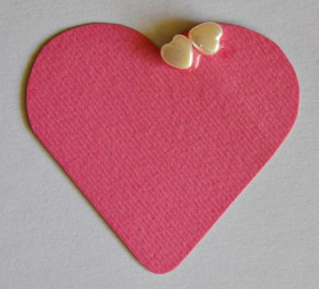 Abundant Hearts Valentine's Day Card - Glue pony beads to the fuchsia heart and allow to dry.