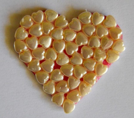 Abundant Hearts Valentine's Day Card - coat pony beads with 3-D gloss and allow to dry for 3 hours