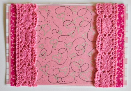 Abundant Hearts Valentine's Day Card - glue strip of lace to both sides of card slightly overlapping the washi tape
