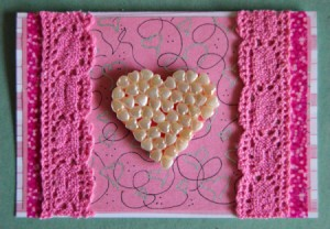 Abundant Hearts Valentine's Day Card - add self adhesive foam squares to back of beaded heart  and stick to card