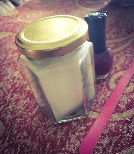 DIY Nail Polish Remover Jar - nail polish remover jar and bottle of polish