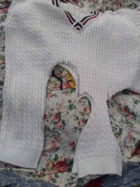 Cozy Mittens from Sweater - hand shapes have been cut out through both thicknesses