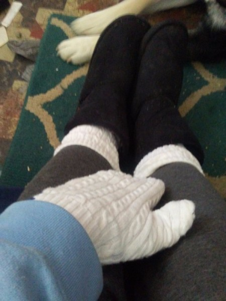 Cozy Mittens from Sweater - looking down on hand inside mitten