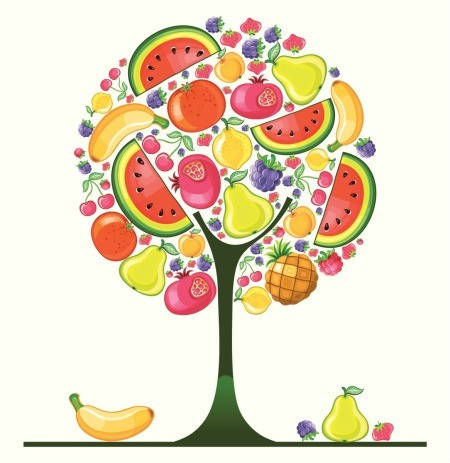 Illustration of a fruit tree with many different kinds of fruit.