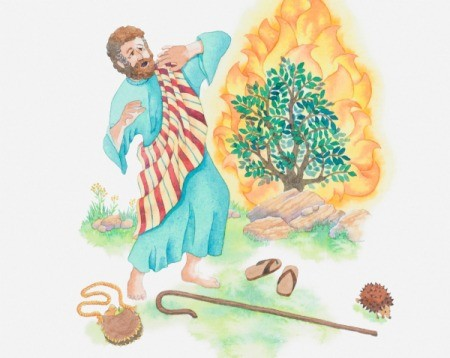 Illustration of Moses and the Burning Bush.