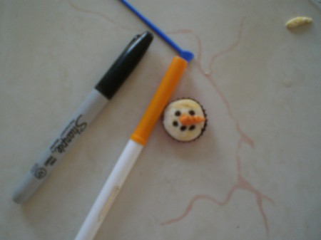 Snowman Refrigerator Magnet - color your final design with a marker