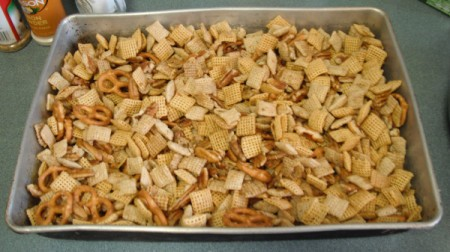 Chex Party Mix on baking tray
