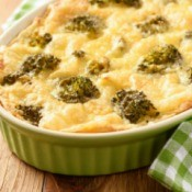 Casserole with potatoes, minced meat, broccoli and cheese.