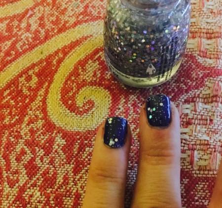 Uneven glitter nail polish.