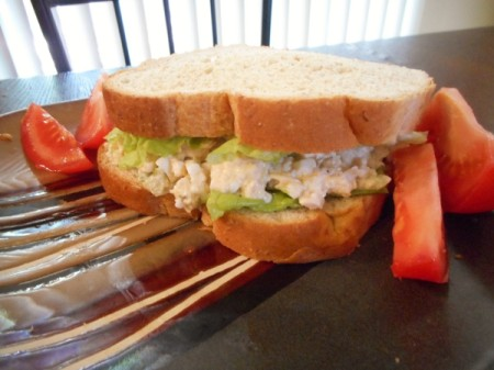 Chicken salad sandwich on plate