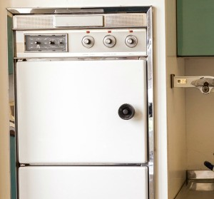 A vintage white oven.