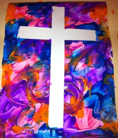 How to Make Cross Silhouettes - remove tape and allow paint to dry, it can be framed or laminated