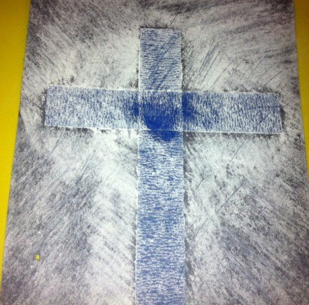 How to Make Cross Silhouettes - chalk version using black paper and white chalk