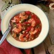 A bowl of shrimp gumbo.