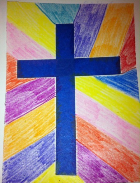 How to Make Cross Silhouettes - crayon version with tape still in place