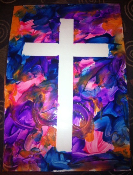 How to Make Cross Silhouettes - finished  poster paint cross