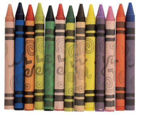 A row of crayons.
