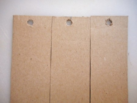 Sturdy Chipboard Bookmarks - three bookmarks with holes