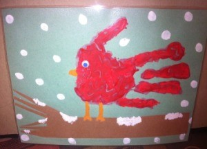 Handprint Winter Cardinals - finished painting of cardinal on snowy branch