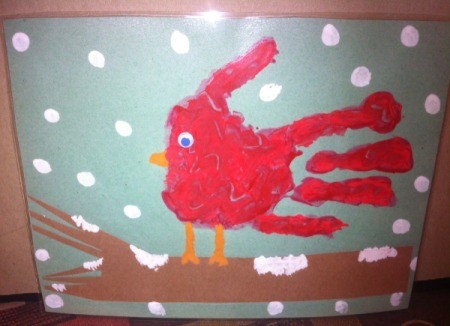 Handprint Winter Cardinals - after paint dries add the eye, if you laminate, glue eye after laminating