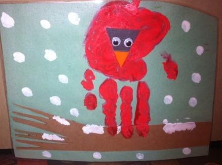 Handprint Winter Cardinals - example of front facing cardinal