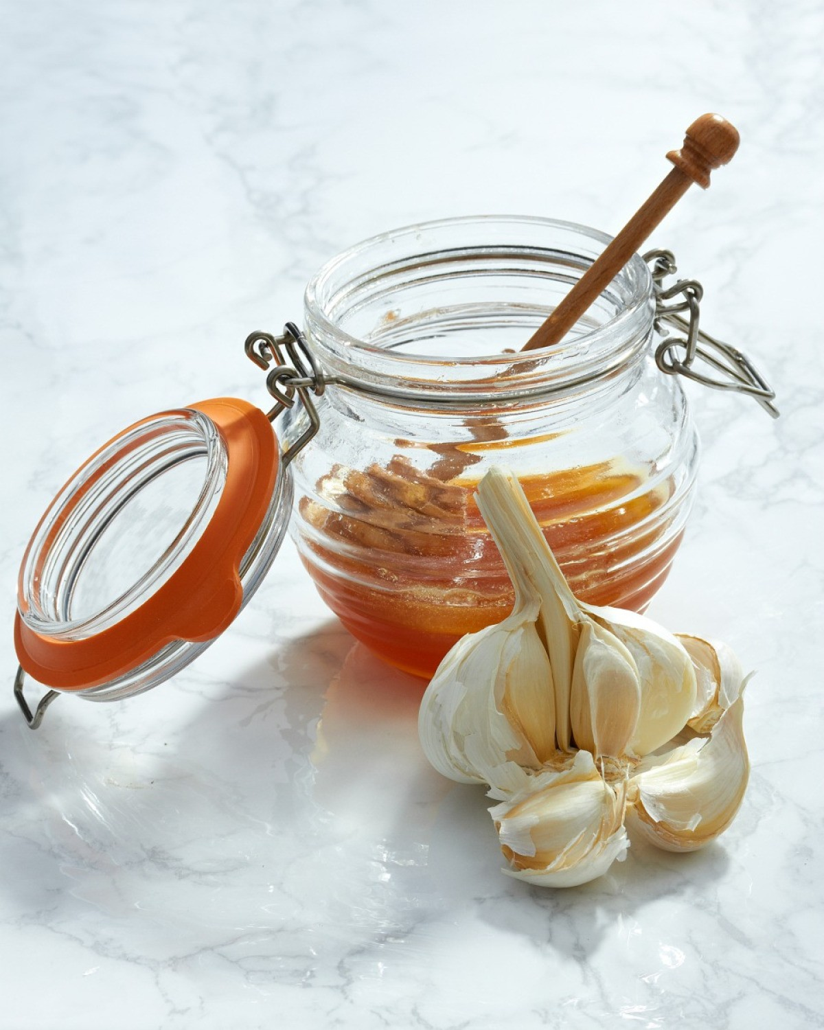 Honey and garlic, ingredients in some natural cough medicines.