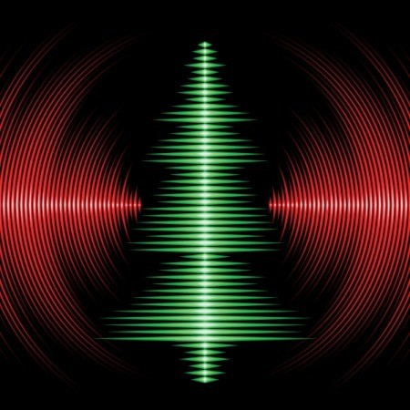 A Christmas tree shaped audio soundwaves on a record.