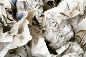 A bunch of crumpled up newspaper.