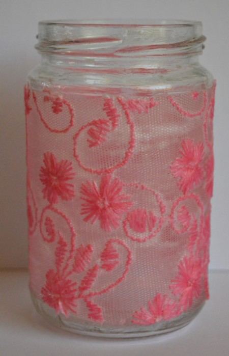 Floating Hearts Valentine's Jar Light - apply Modge Podge and then net fabric, covered with a second application of Modge Podge