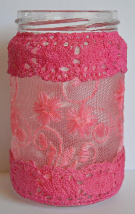 Floating Hearts Valentine's Jar Light - using Modge Podge attach the pink lace to the top and bottom of the jar in the same way as the net fabric